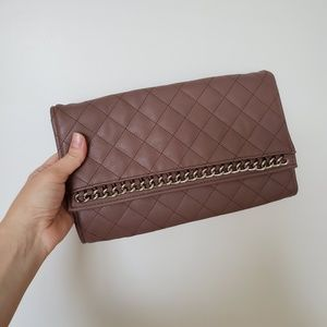 Handbags - Mauve-Taupe Quilted Clutch